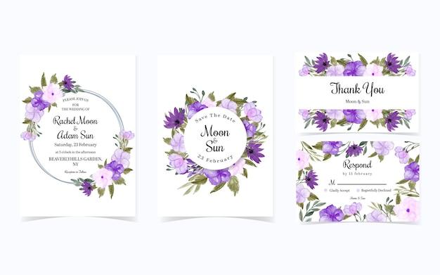 Набор красивых фиолетовых цветочных свадебных приглашений