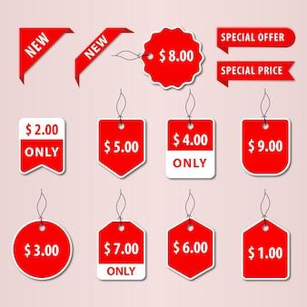 値札と割引ロゴデザインテンプレートのセット