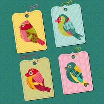 새와 함께 가격표 또는 레이블 집합