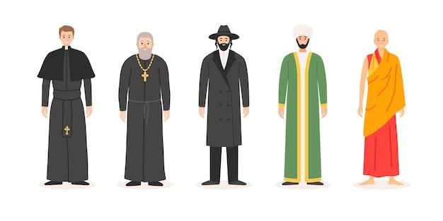 다른 종교의 성직자의 집합입니다. 기독교 사제, 가톨릭, 정통 유대교 랍비, 이슬람 물라, 불교 승려. 고립 된 만화 평면 스타일에서 벡터 문자 그림