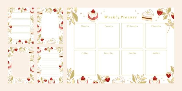 印刷可能なウィークリープランナーのセット、毎日行うリスト、メモ帳テンプレート、学校のスケジュール