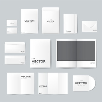 Set of printing material designs mockup vector