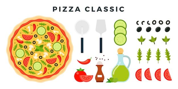 製品と白で隔離されるピザを作るためのツールのセット
