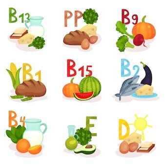 異なるビタミンを含む製品のセット。健康的な栄養。食のテーマ。ポスターやバナーの要素