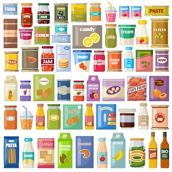 白い背景の上の製品のセット。食料品。美食。缶詰、ジュース、ジャム、クッキー