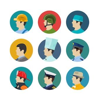 円で分離された職業アイコンのセット。兵士とビルダー、消防士と料理人、医者と船長。ベクトルイラスト
