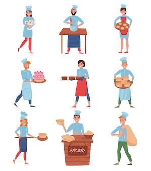 Набор профессиональных поваров или пекарей в разных действиях. персонажи мультфильмов люди в форме шеф-повара