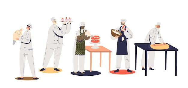 케이크를 요리하고 장식하거나 반죽 작업을 하는 전문 제과자 세트. 축제 행사를 위한 디저트를 만드는 요리사 수탉. 만화 평면 벡터 일러스트 레이 션