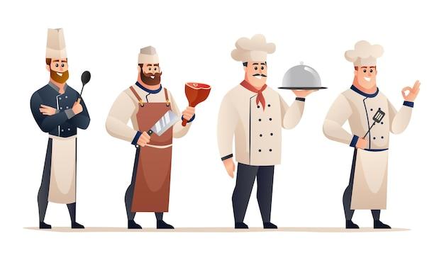 전문 남성 요리사 캐릭터 세트