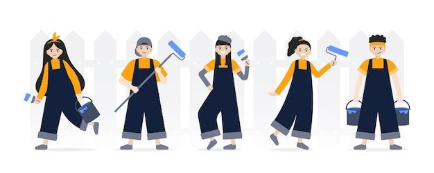 プロの画家のキャラクターのセット、ペイントブラシとペイントローラーまたはペイントツールを保持している画家のキャラクターセット、。