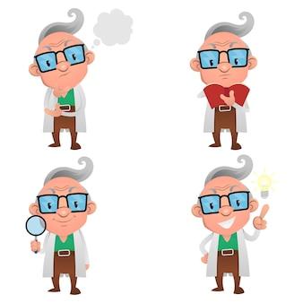 Набор персонажей мультфильма профессор, думая, читая книгу, ища и открывая идею