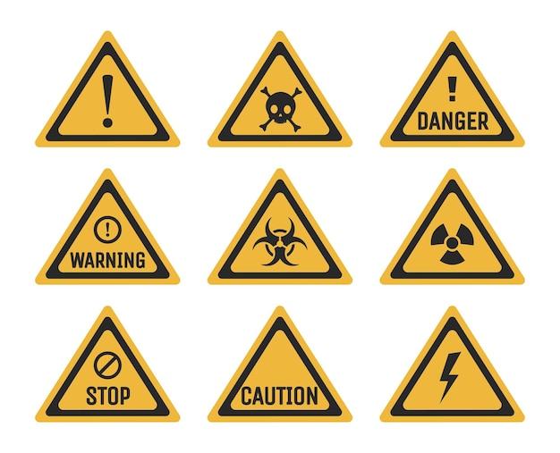 Набор запрещающих и предупреждающих знаков векторной плоской иллюстрации опасности
