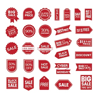 Set of promotion badge vectors
