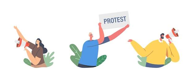 ストライキやデモのプラカードを持った抗議する人々のセット、ラウドスピーカー、バナーとサインの抗議、暴動運動を伴う男性と女性の活動家のキャラクター。漫画の人々のベクトル図
