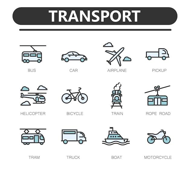 公共交通機関関連線アイコンのセット。