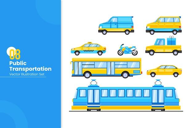 公共交通機関のセット