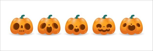 孤立した笑顔で幸せなハロウィーンの休日のオレンジ色のカボチャのカボチャのシンボルのセット
