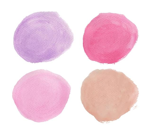 보라색과 분홍색의 집합입니다. 라운드 수채화 밝아진. 원 요소