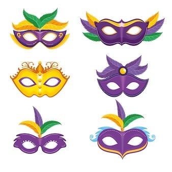 Набор фиолетовой и желтой карнавальной маски mardi gras