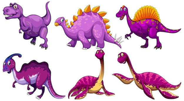 紫色の恐竜の漫画のキャラクターのセット