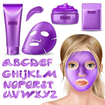Набор фиолетовой маски, скраба и каллиграфического шрифта.