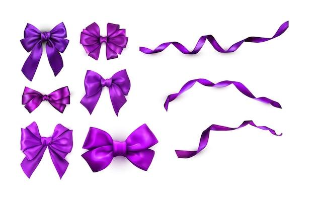 Набор фиолетовых реалистичных красивых атласных бантов и лент