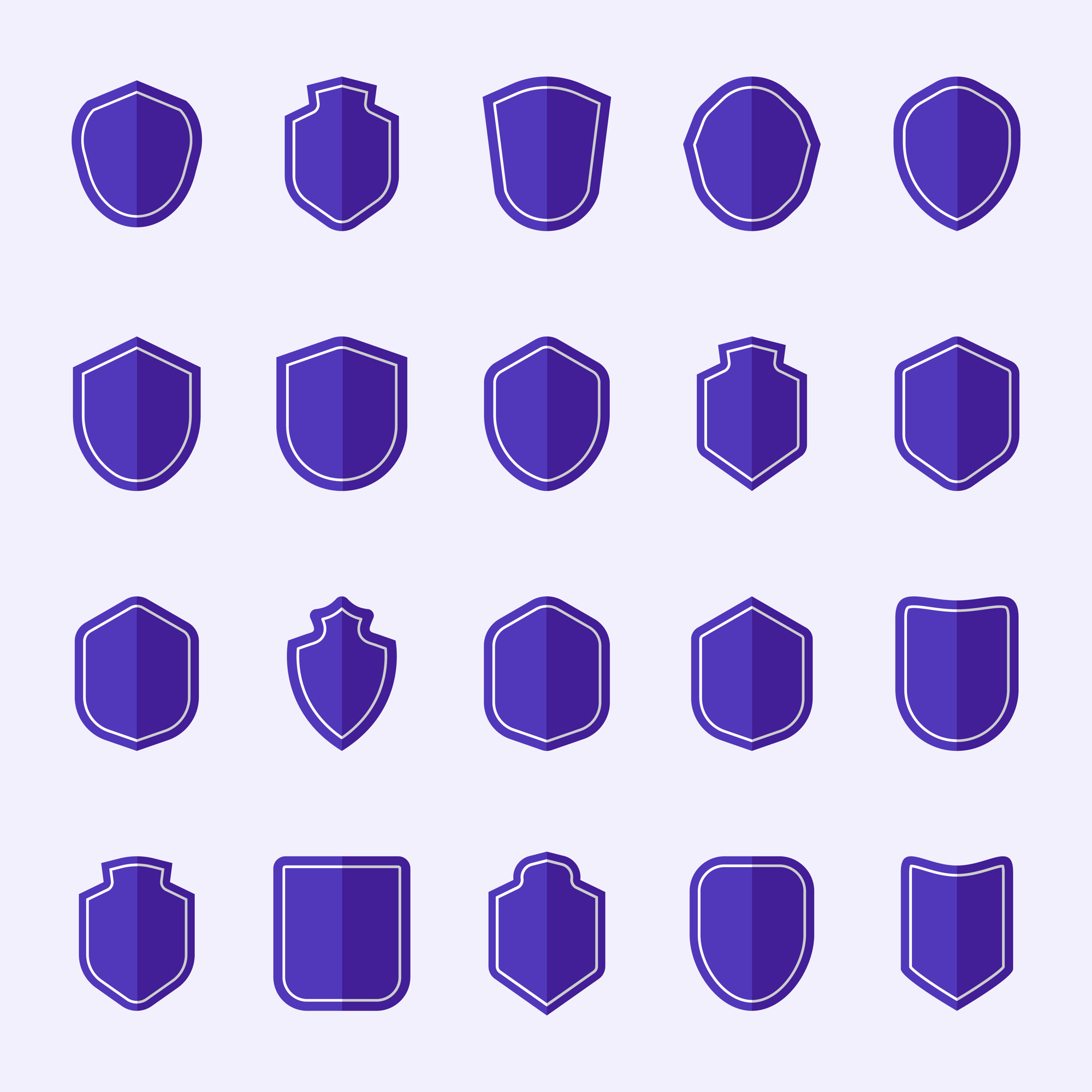Set of purple shield icon vectors