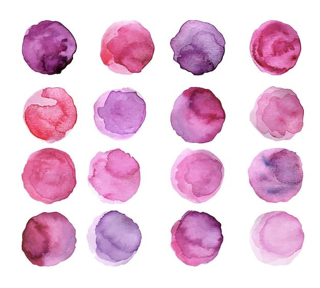 Набор фиолетовых акварельных пятен