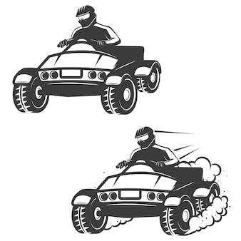 白い背景の上のドライバーアイコンとクワッドバイクのセットです。ロゴ、ラベル、エンブレム、記号、ブランドマーク、ポスターの要素。