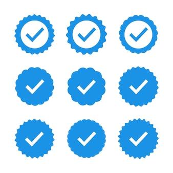 品質のアイコンのセットです。青い平らな星型ステッカー。プロファイル検証サイン。保証、承認、承認、品質のバッジ。フラットチェックマーク。