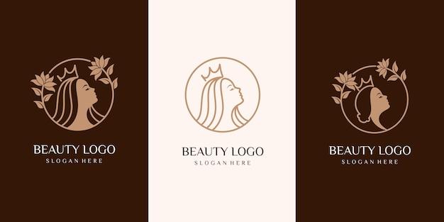Набор королевы красоты женщина логотип. спа, мода, макияж, парикмахерские девушки логотип концепции значок линейный стиль