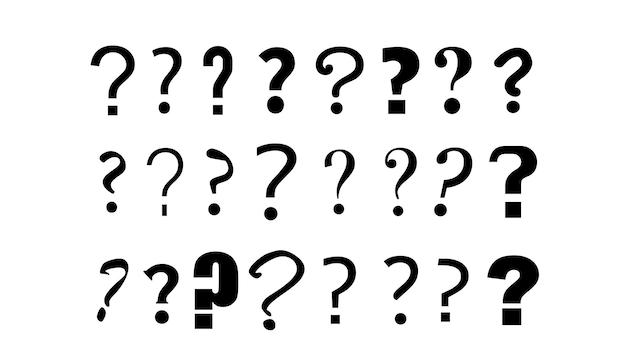 疑問符のセットスケッチstyledoodle画像は白で分離問題の問題のシンボル
