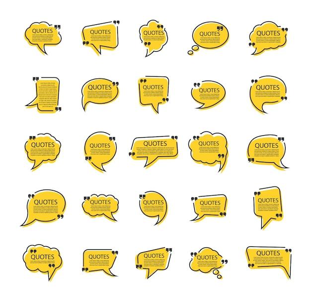 Набор шаблонов пузырей цитаты в плоском дизайне