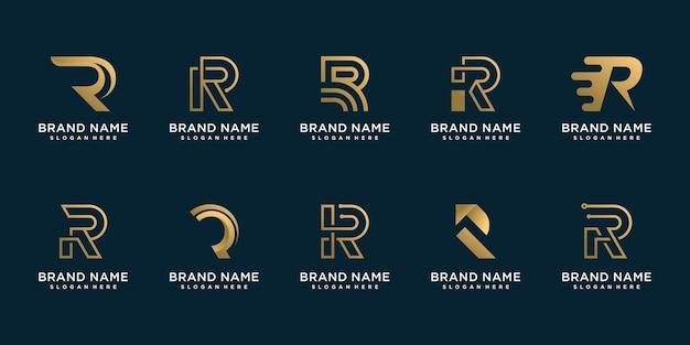 Набор логотипов r для бизнеса premium векторы