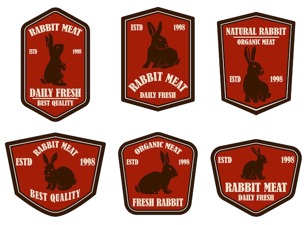토끼 고기 엠블럼 세트입니다. 로고, 레이블, 기호, 배너, 포스터 디자인 요소입니다. 벡터 일러스트 레이 션
