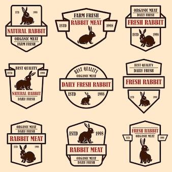 토끼 고기 레이블 집합입니다. 로고, 레이블, 기호, 배지, 포스터 디자인 요소입니다. 벡터 이미지