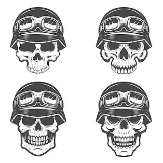 Набор гонщик черепов на белом фоне. элементы для этикетки, эмблемы, плаката, футболки. иллюстрации.