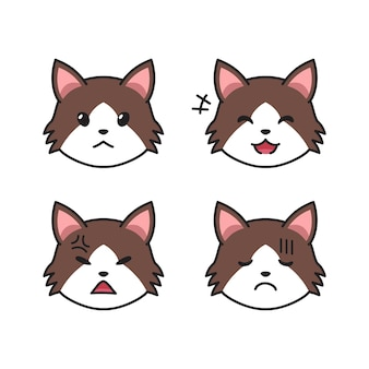 Набор мордочек оборванной кошки, показывающих разные эмоции для дизайна.