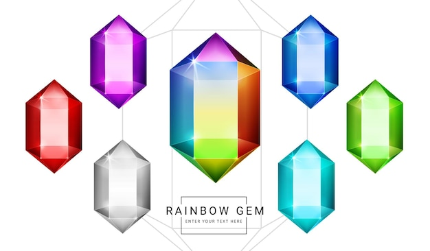 虹色のファンタジージュエリーの宝石、ゲーム用のクリスタルポリゴンシェイプストーンのセット。