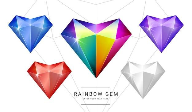 무지개 색 환상 보석 보석, 게임에 대 한 심장 다각형 모양 돌의 집합입니다.