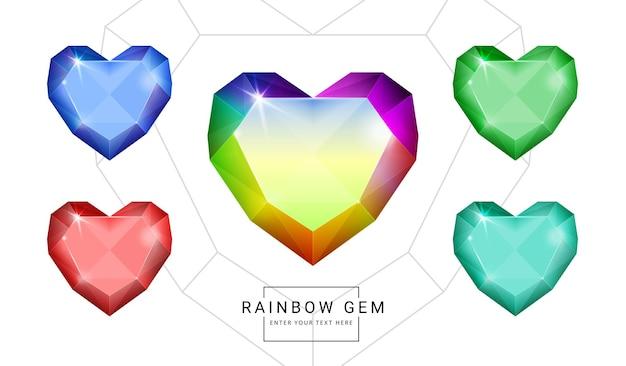 무지개 색 판타지 보석 보석, 게임에 대한 심장 모양 돌의 집합입니다.