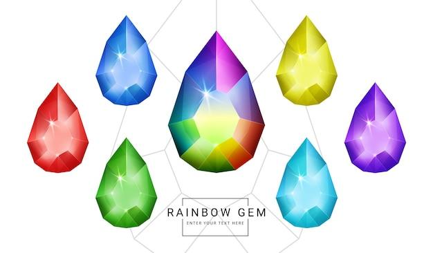虹色のファンタジージュエリーの宝石、ゲーム用の楕円形のティアドロップ多角形の石のセット。