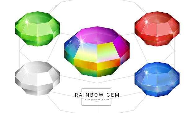 虹色のファンタジージュエリーの宝石、ゲーム用のポリゴンジオメトリシェイプストーンのセット。