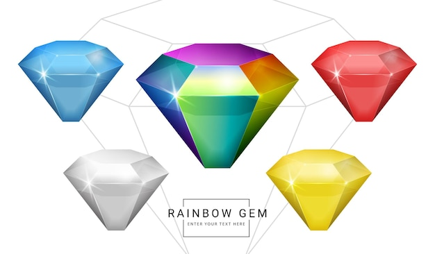 虹色のファンタジージュエリーの宝石、ゲーム用の多角形の石のセット。