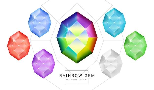 무지개 색 환상의 보석 보석, 게임에 대한 다각형 모양 돌의 집합입니다.
