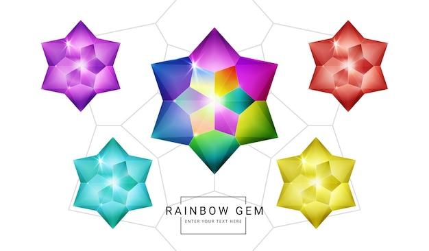 虹色のファンタジージュエリーの宝石、ゲーム用の星の花の多角形の石のセット。