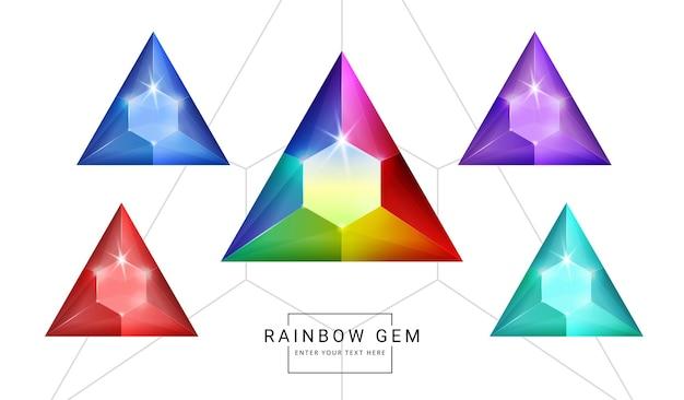 무지개 색 환상의 보석 보석, 삼각형 다각형 모양의 게임 돌 세트.