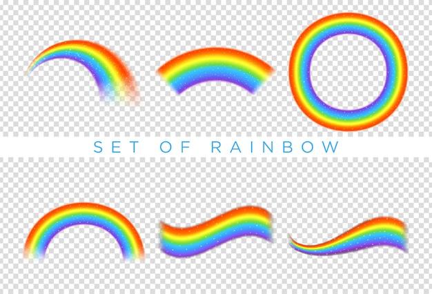 透明な背景に分離された虹のアイコンのセット