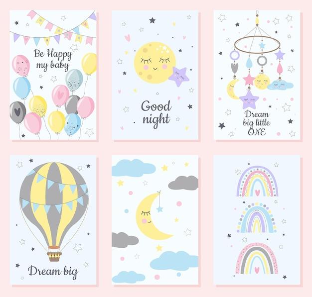 白と青の背景に分離された子供っぽいスカンジナビアスタイルのスタイルの虹、風船、月、心、雲、雨のセット。子供向け、ポスター、版画、カード、布地、児童書。