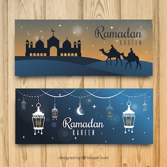 Set of ramadan banners with mosque and ornaments